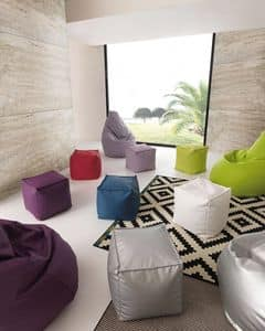 Art. 830 Dado, Pouf in eco-pelle sfoderabile, di alta qualit�