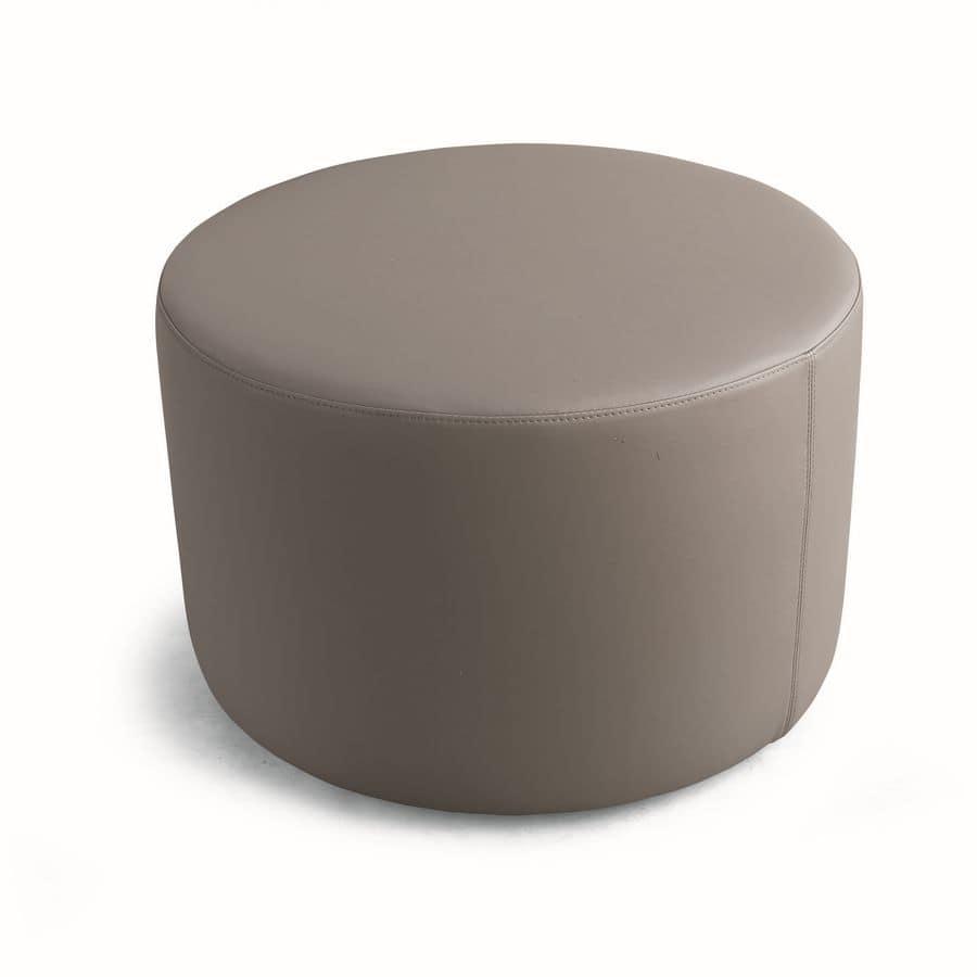 ART. 960 AROUND, Versatile pouf tondo, rivestito in ecopelle