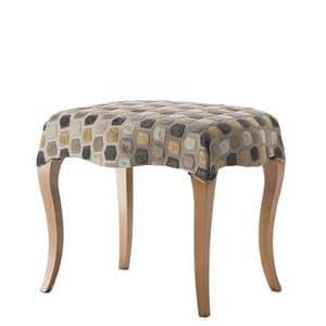 Art. CA729, Pouf classico, con gambe in legno, seduta imbottita