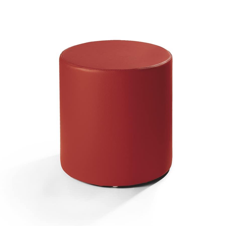 Cilindro 40, Pouff in pelle, forma cilindrica, per salotto moderno