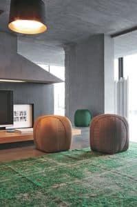 GOMITOLO, Pouf imbottito, a forma di gomitolo, per salotto moderno