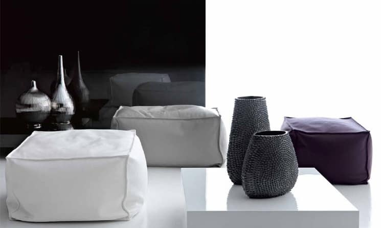 King Pouf, Pouf in pelle per Area lounge