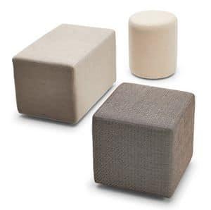 Kubo pouf, Pouf imbottito e rivestito, per aree relax e conversazione