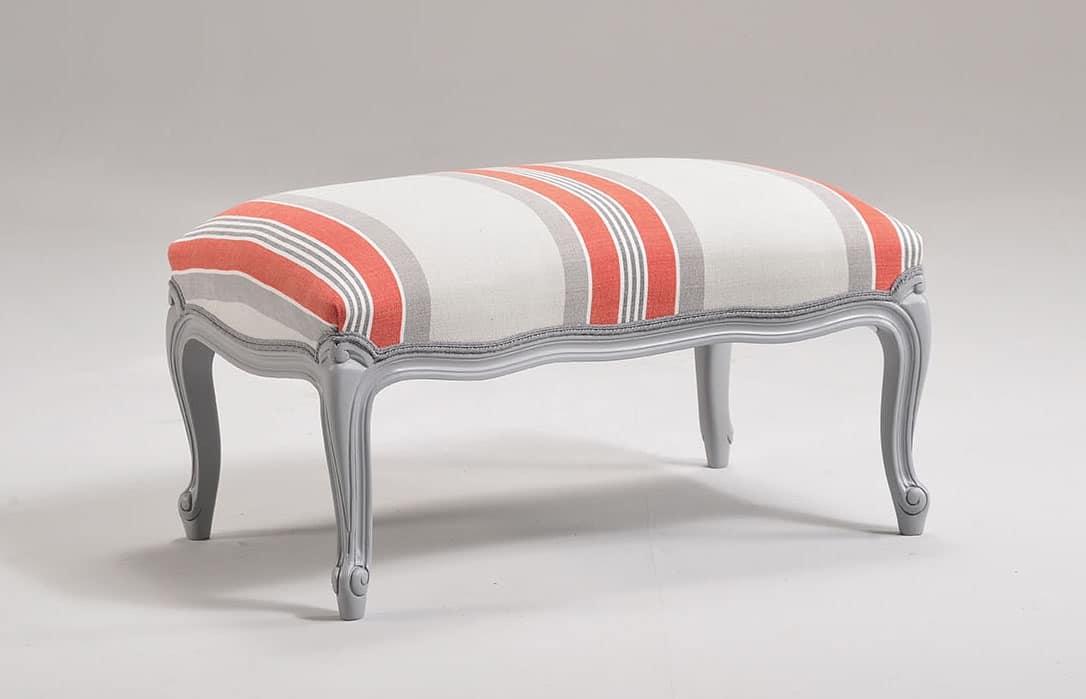 MARJA pouff 8642O , Pouf per salotto, in legno intagliato, rivestito in tessuto