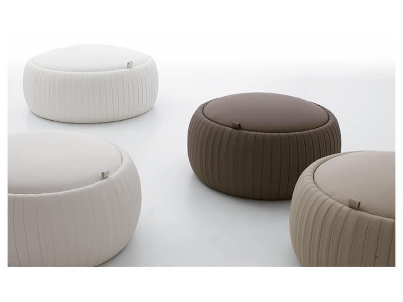 pouf in ecopelle con contenitore tondo idfdesign. Black Bedroom Furniture Sets. Home Design Ideas