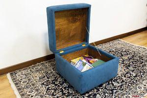 Pouf contenitore, Poggiapiedi con contenitore realizzabile anche su misura