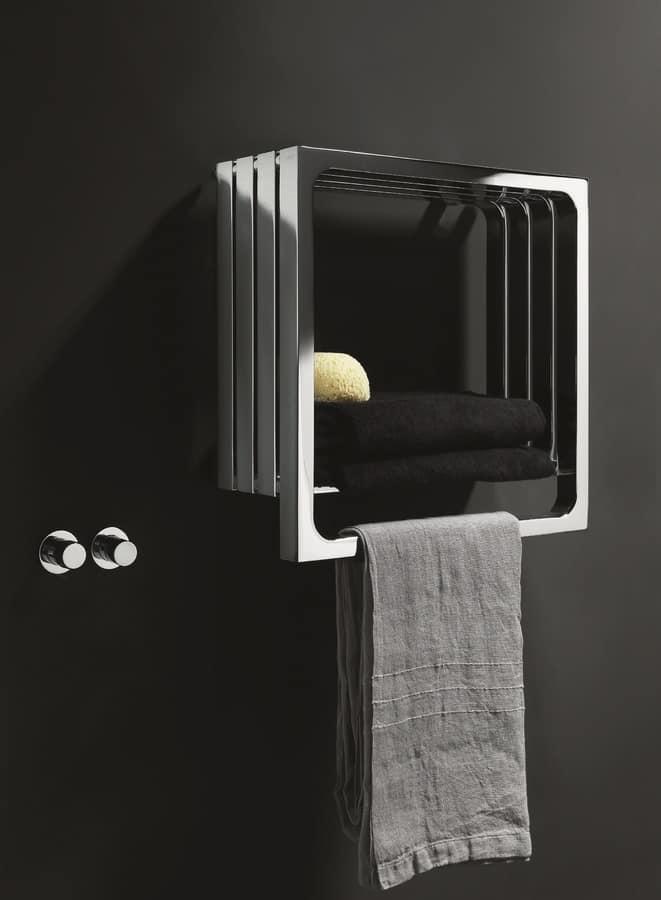 Calorifero da bagno, con appendi asciugamano e mensola | IDFdesign