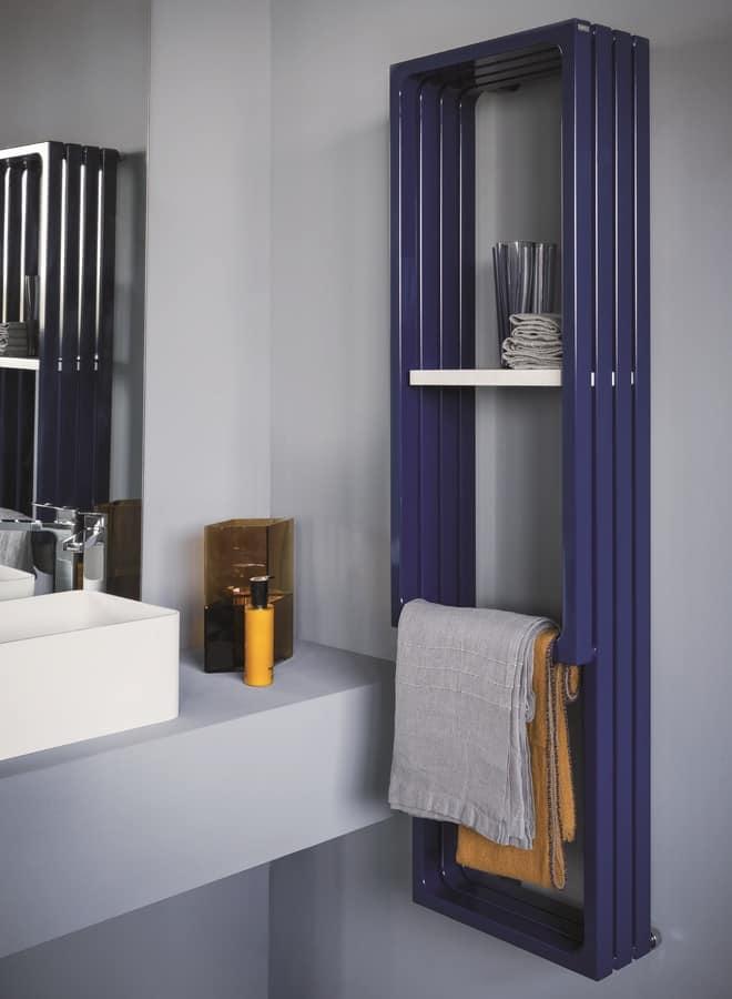 Montecarlo, Calorifero da bagno, con appendi asciugamano e mensola