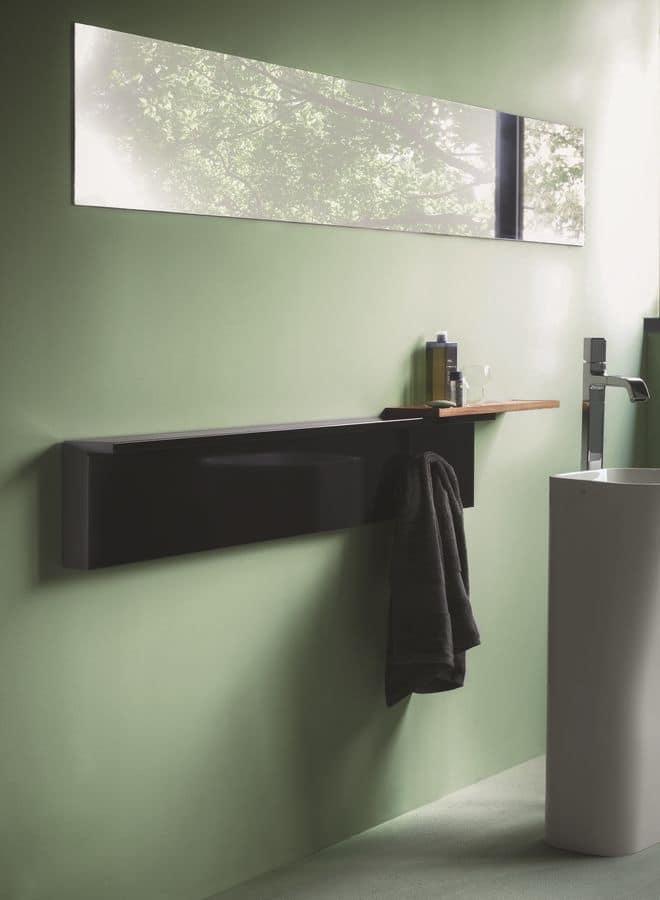 Rift, Elegante radiatore componibile, accessoriabile con mensole e portasalviette