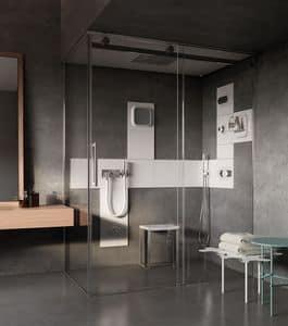 Miscelatore in acciaio con mensola per bagno casa idfdesign - Miscelatore bagno moderno ...