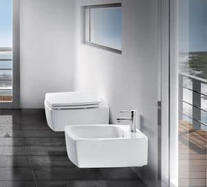 SQUARE WALL WC BIDET, Sanitari sospesi in ceramica