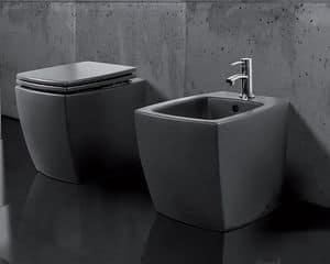 SQUARE WC BIDET, Sanitari a pavimento realizzati in ceramica