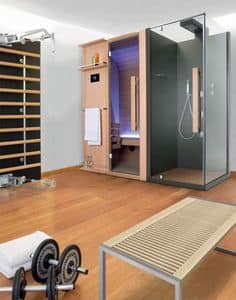 Cuna Doccia, Sauna lineare, in legno e cristallo, per centro benessere