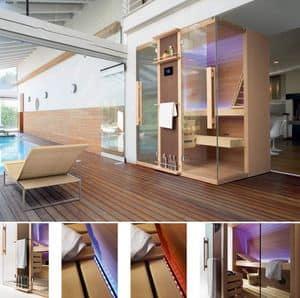 Cuna, Sauna disponibile in varie versioni e finiture, per terme