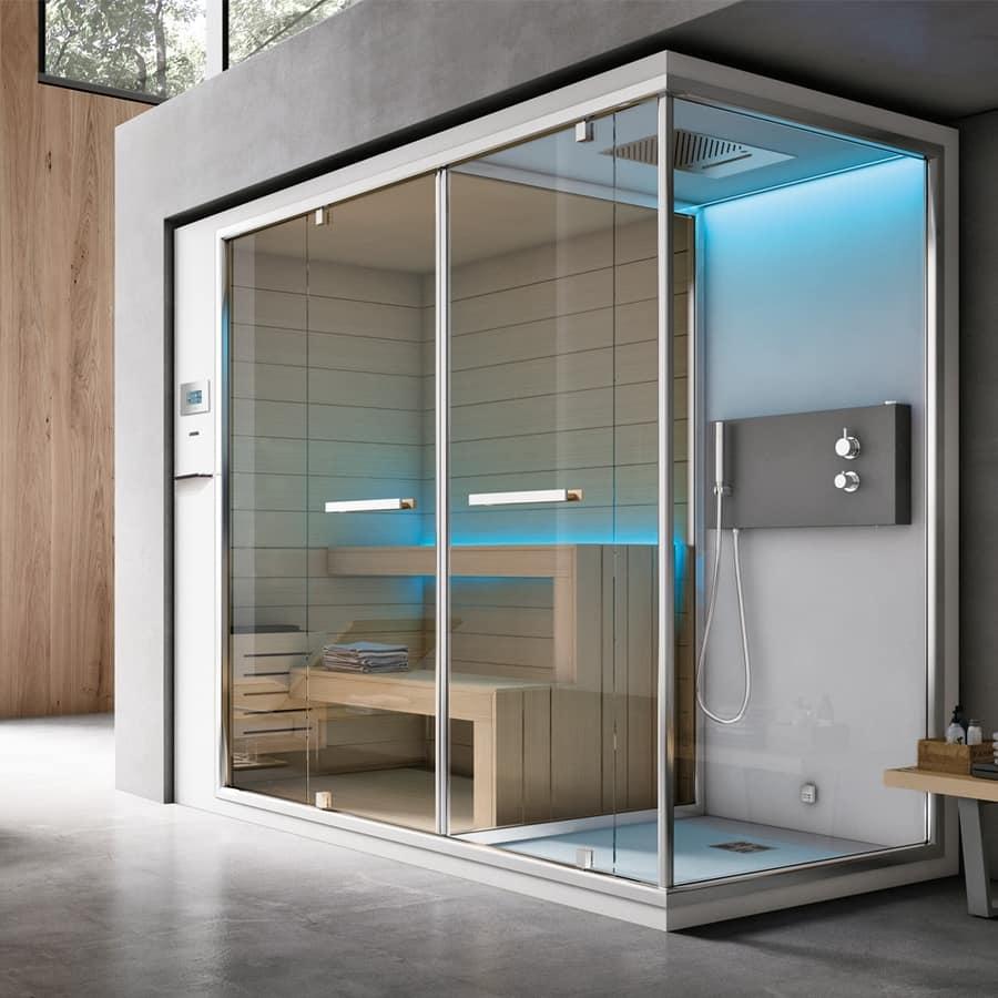 Doccia con bagno turco con pannello touch e audio idfdesign for Box doccia sauna bagno turco