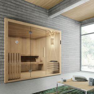 Kyra, Sauna con porta battente in vetro e tastiera digitale