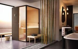 LOYLY, Sauna in legno e vetro trasparente, per piscina moderna