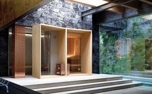 MEMO, Composizione modulare sauna e hammam, stufa con pietre, generatore di vapore