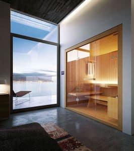 ROPE, Sauna in legno con vetrate in cristallo, per hotel