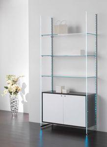 Glassystem COM/GS22, Scaffalatura in vetro con luci led