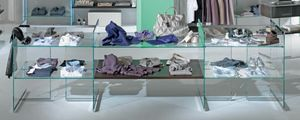Glassystem COM/GS3, Scaffali in vetro per negozi