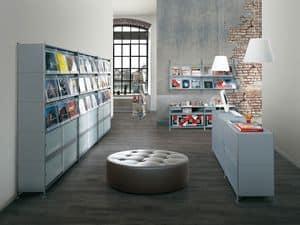 Socrate negozi, Scaffali modulari in acciaio verniciato, per negozi