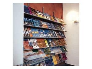 Socrate parete espositori, Scaffalatura da parete per biblioteche, edicole e negozi