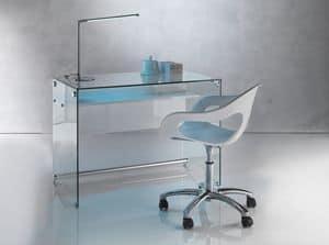 Art. 906 Desk, Scrivania dal design pulito, in vetro trasparente