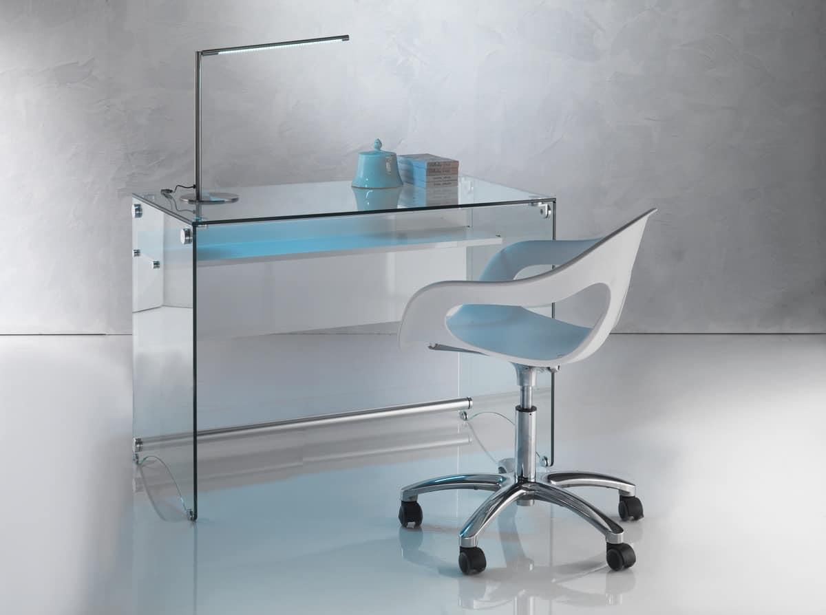 Tavolo Pc Cristallo.Scrivania Dal Design Pulito In Vetro Trasparente Idfdesign