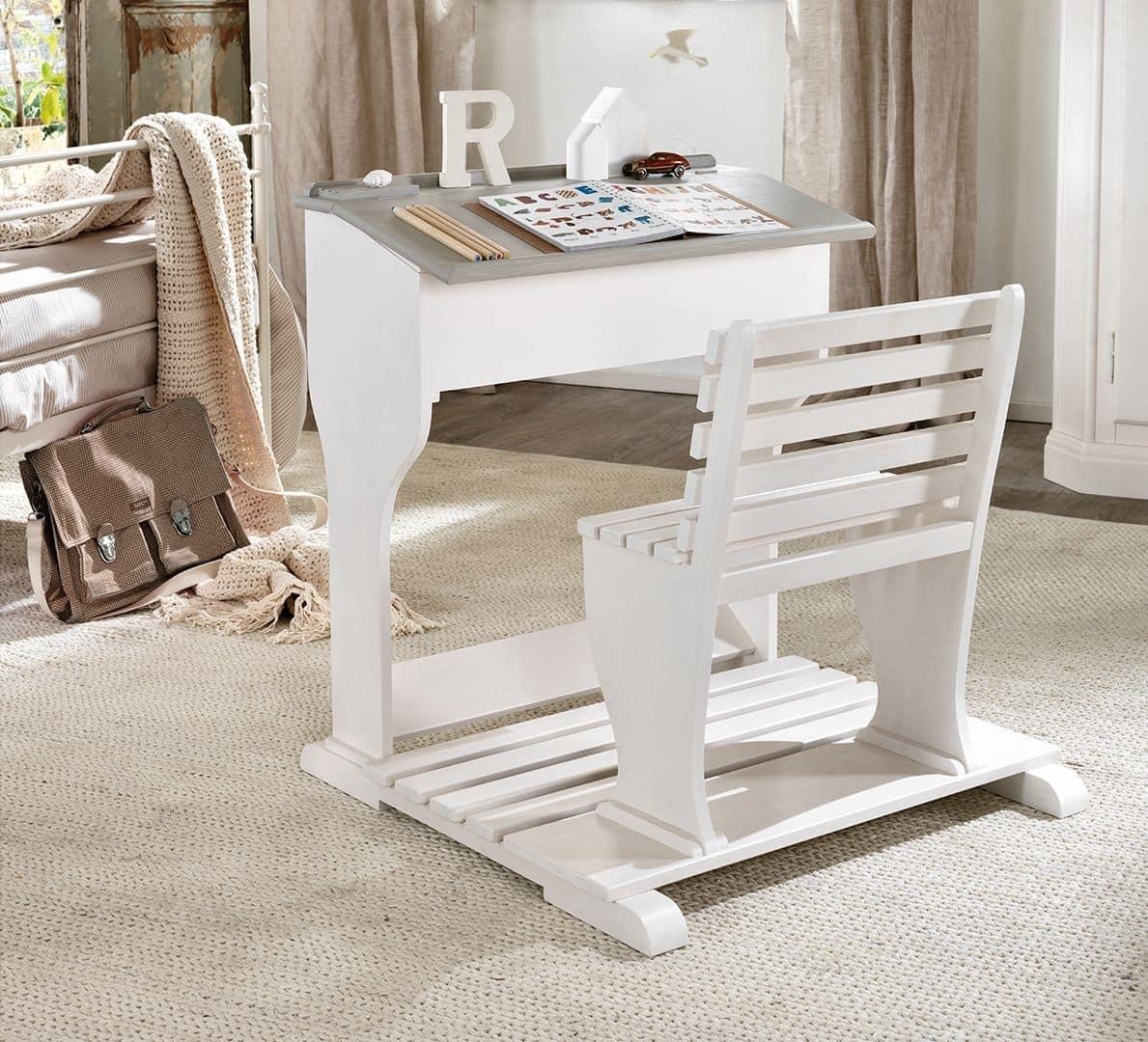 Scrittoio ergonomico per bambino in legno con panca for Piccole scrivanie