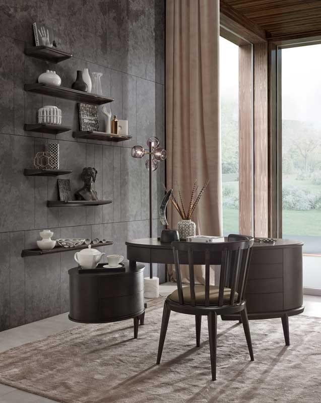 Maracanà scrivania, Scrivania ovale con cassettiera, in Canaletto nero