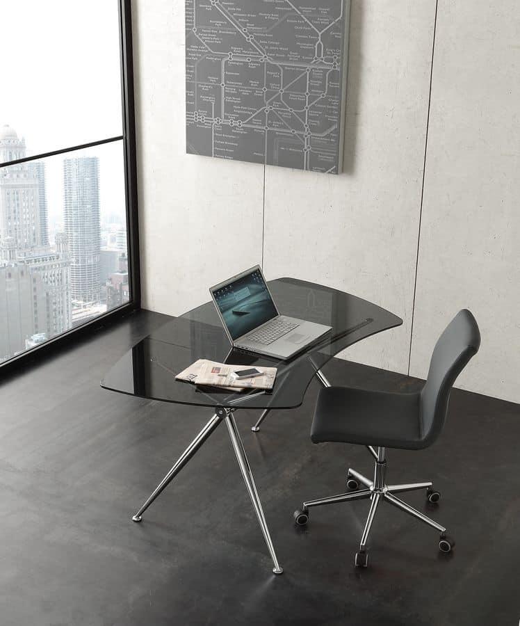 S asterix scrivania moderna con piano in cristallo with for Scrivanie ufficio vetro prezzi