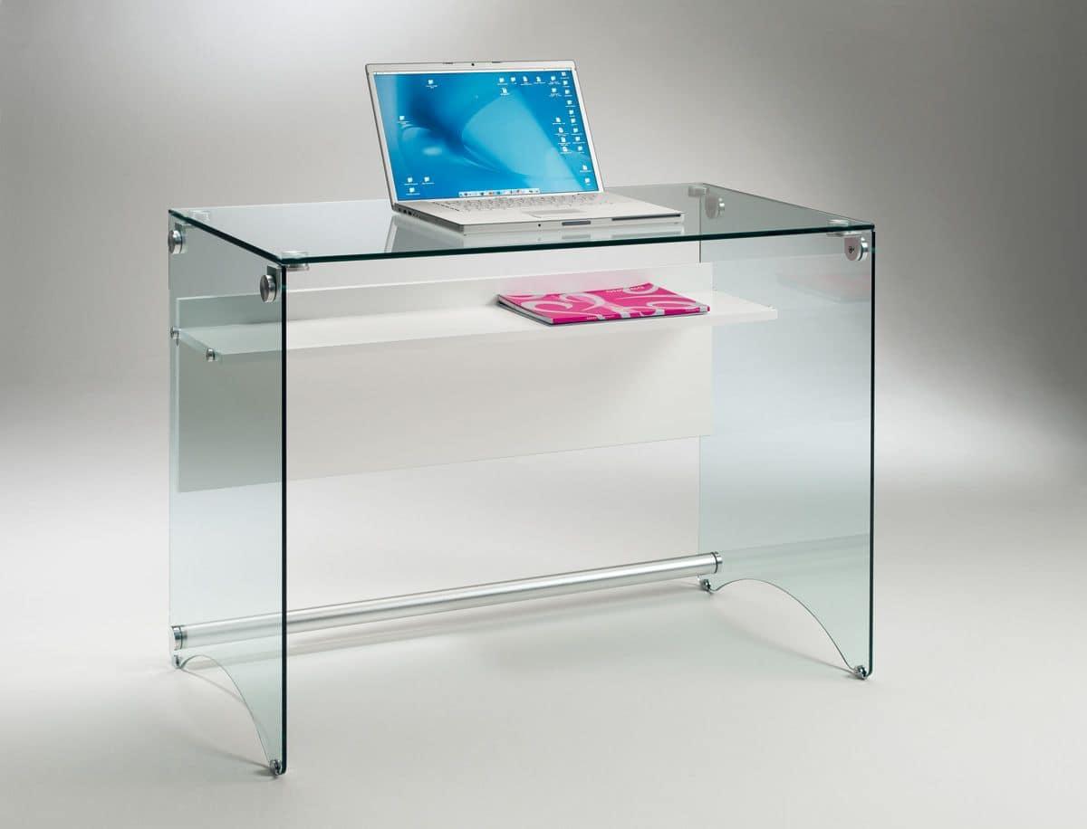 Scriba pc03 prezzo scrivania in vetro trasparente for Scrivania cristallo design