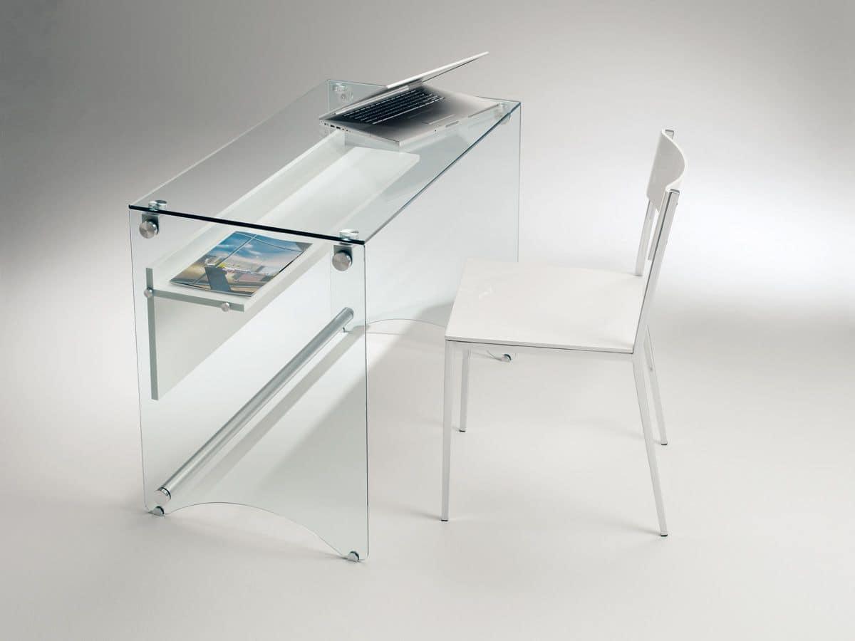 Scriba pc03 prezzo scrivania in vetro trasparente for Scrivanie in cristallo