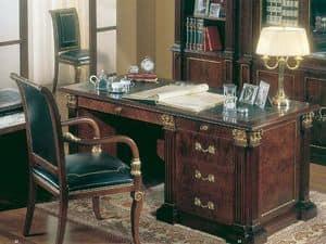 412, Scrivania in radica di frassino, classica di lusso, per ufficio
