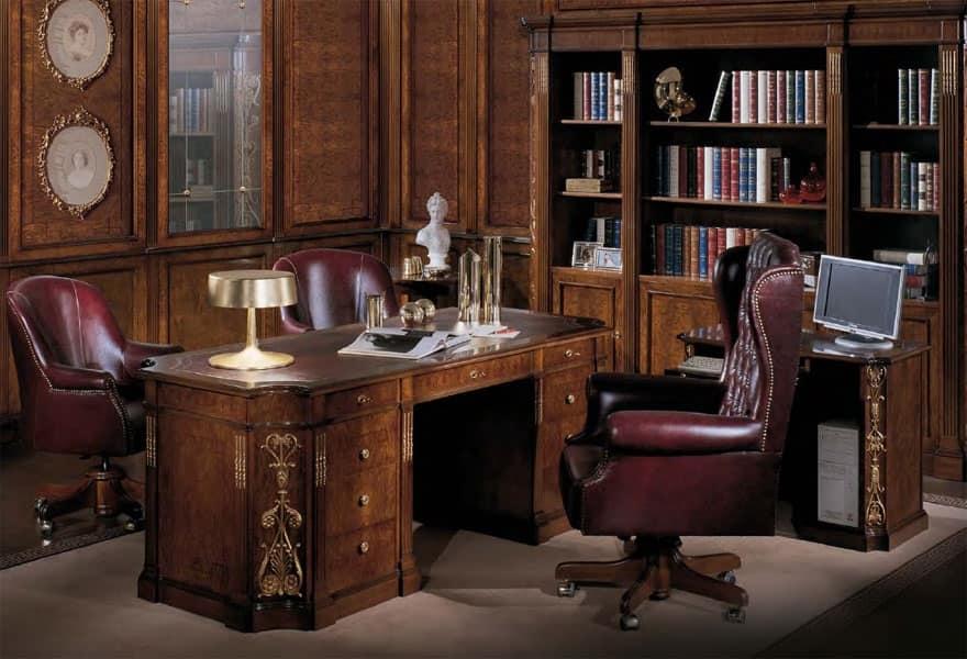 Scrivania con piano in pelle classica di lusso idfdesign for Design vendita on line