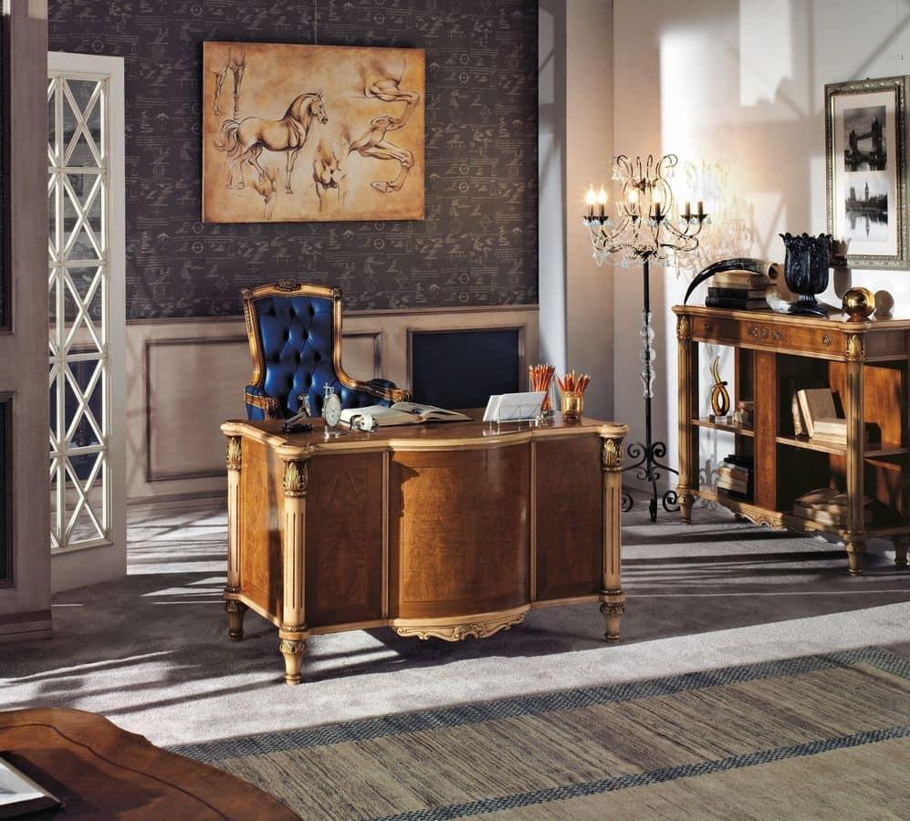 Scrivania classica di lusso in legno per la casa idfdesign - Biancheria di lusso per la casa ...