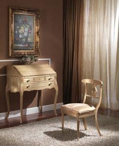 712 SCRITTOIO, Scrittoio classico di lusso con ribalta, finiture foglia oro
