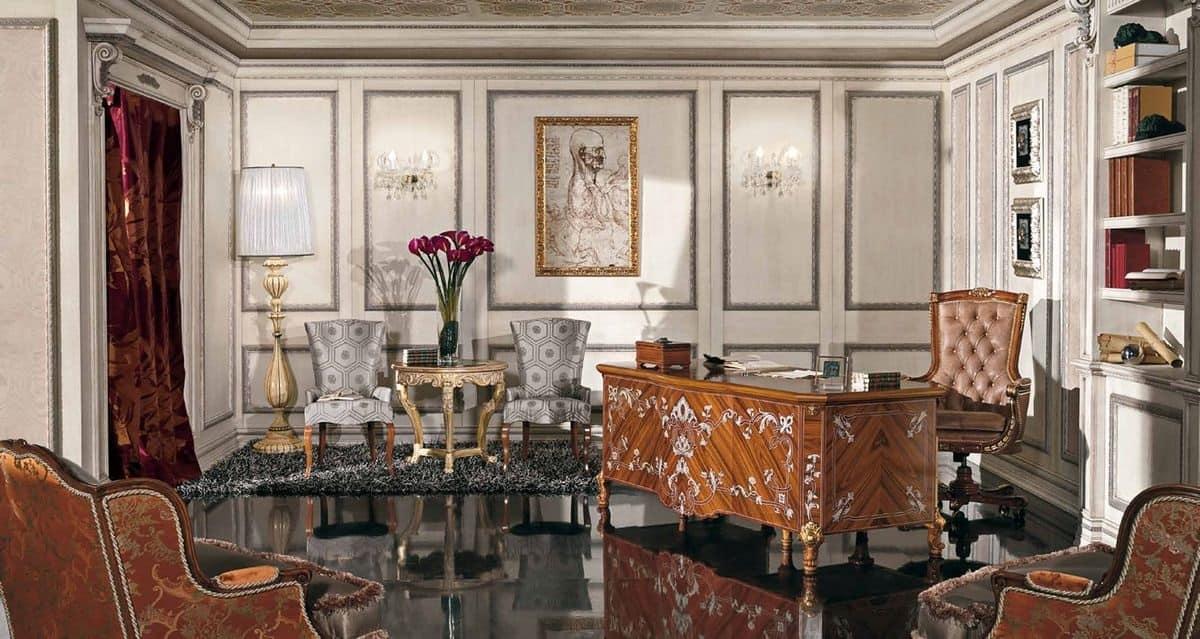Scrivania classica di lusso impiallicciata per la casa - Biancheria di lusso per la casa ...