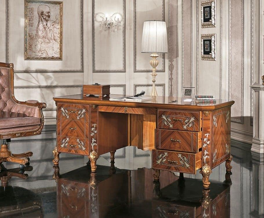 Scrivania classica di lusso impiallicciata per la casa for Oggettistica classica per la casa