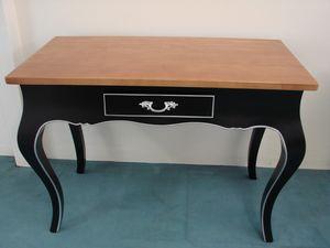 Art. 129, Scrivania con cassetto, in legno laccato nero e noce