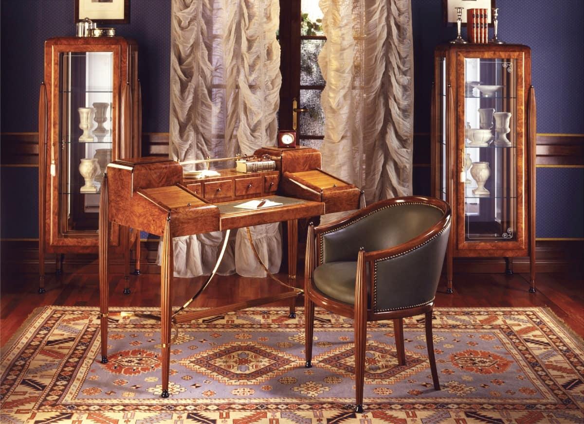 Art Déco Art.541 scrivania, Scrittoio in radica, con finiture satinate