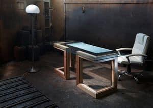 Scrivanie direzionali moderne struttura in metallo piano - Scrivania cristallo ufficio ...