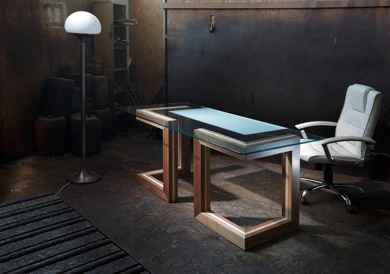 Scrivania in legno e cristallo per ufficio direzionale - Scrivania cristallo ufficio ...