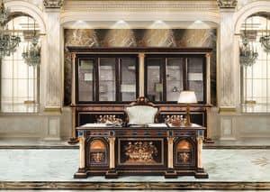 F950/D, Scrivania intarsiata per Ufficio classico di lusso