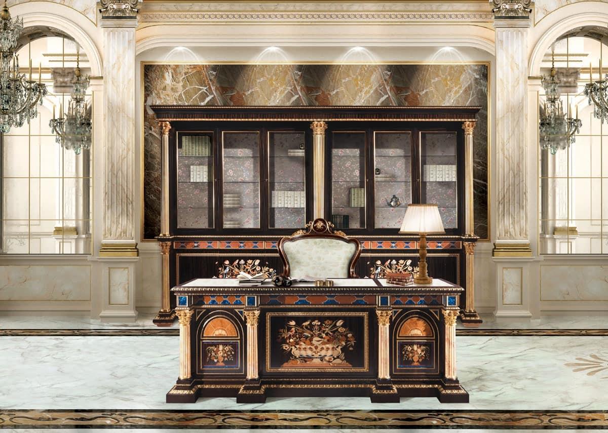 Ufficio Di Lusso : Scrivania intarsiata per ufficio classico di lusso idfdesign