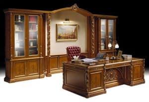 Ginevra studio, Mobili per ufficio classico di lusso, libreria e scrivania intarsiate