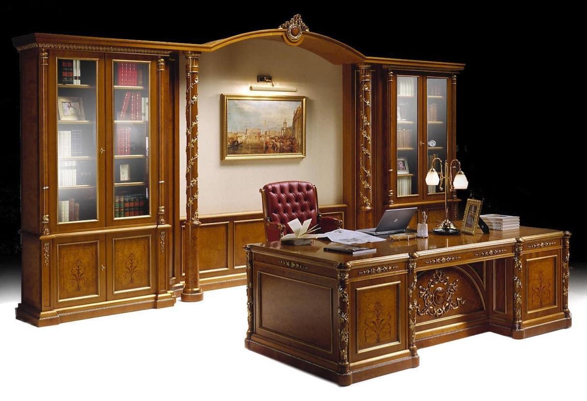 Mobili per ufficio classico di lusso libreria e scrivania for Mobili da studio