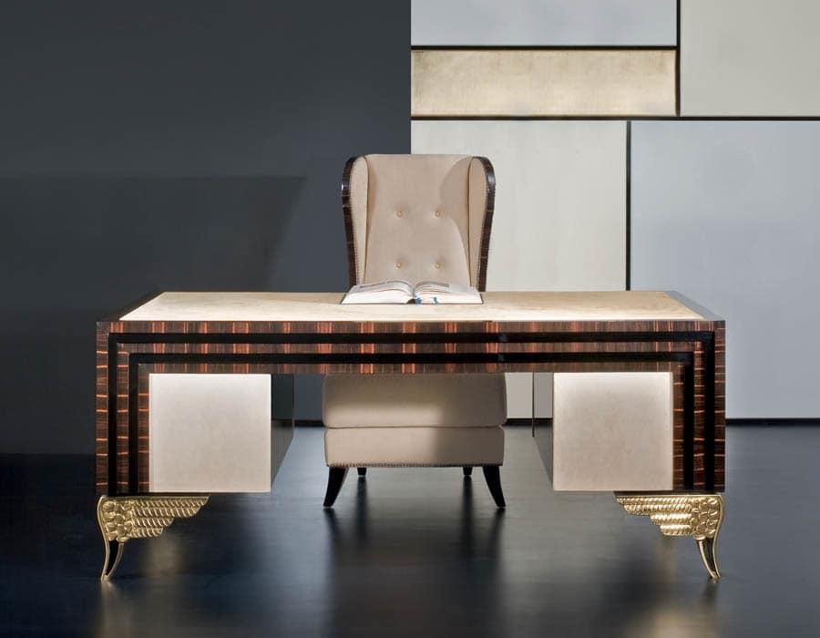 Gallery of mikado mk lussuosa scrivania con piano in pelle with scrivanie in legno - Scrivanie legno design ...