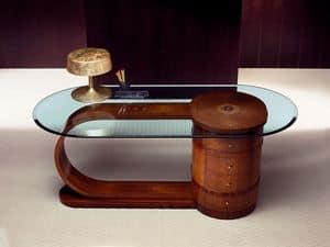 SC15 Zebrano, Scrivania con piano cristallo, in legno massello, 4 cassetti